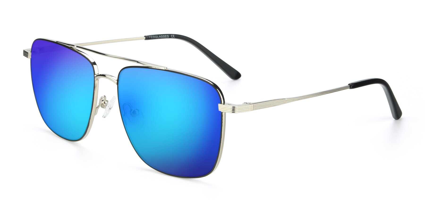 Angle of 9519 in Black-Silver with Blue Mirrored Lenses