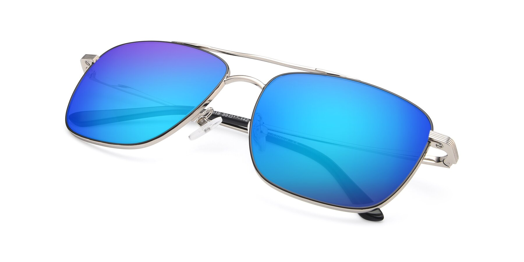 View of 9519 in Black-Silver with Blue Mirrored Lenses