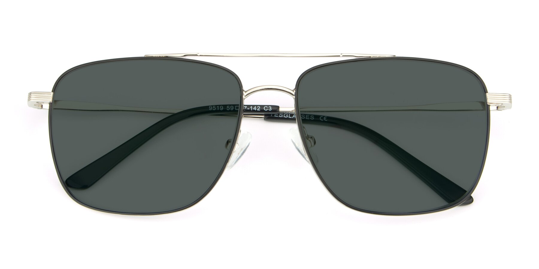Folded Front of 9519 in Black-Silver with Gray Polarized Lenses