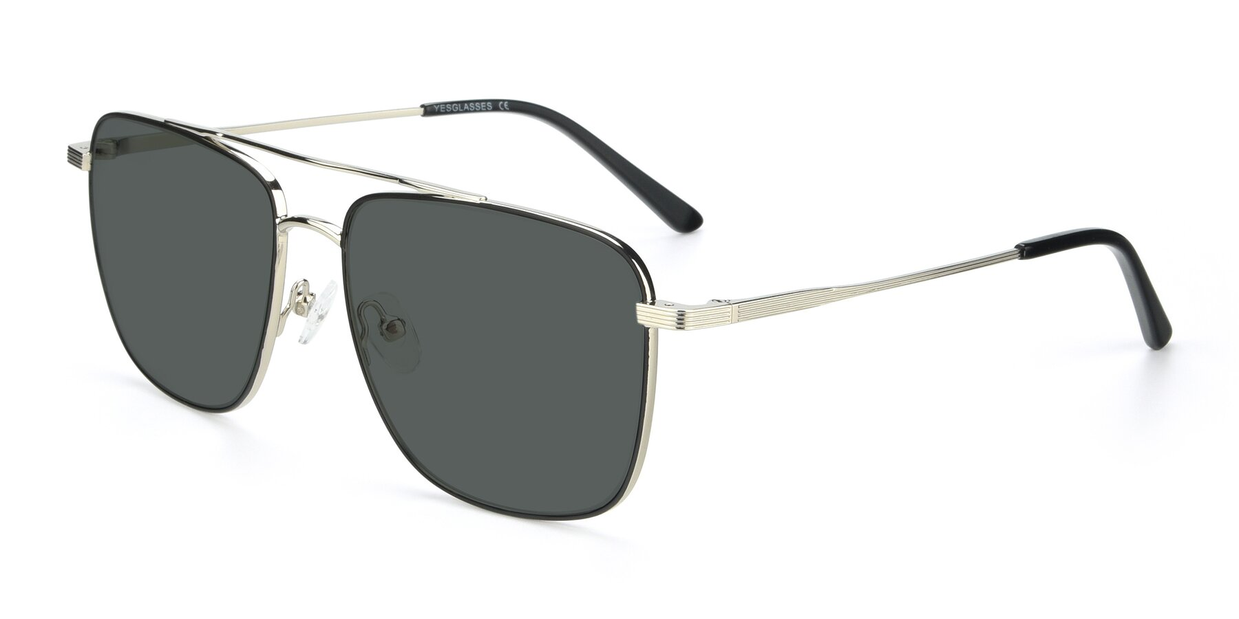 Angle of 9519 in Black-Silver with Gray Polarized Lenses