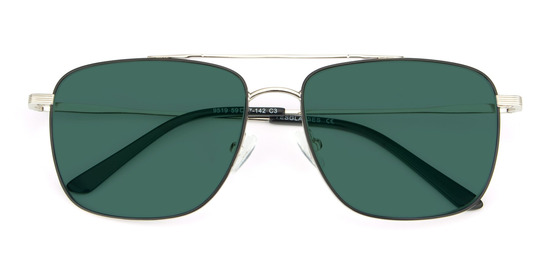 Folded Front of 9519 in Black-Silver with Green Polarized Lenses