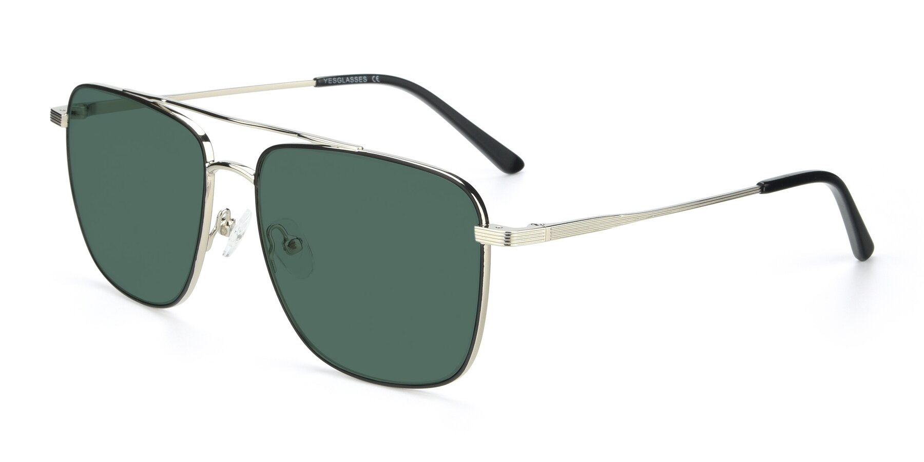 Angle of 9519 in Black-Silver with Green Polarized Lenses