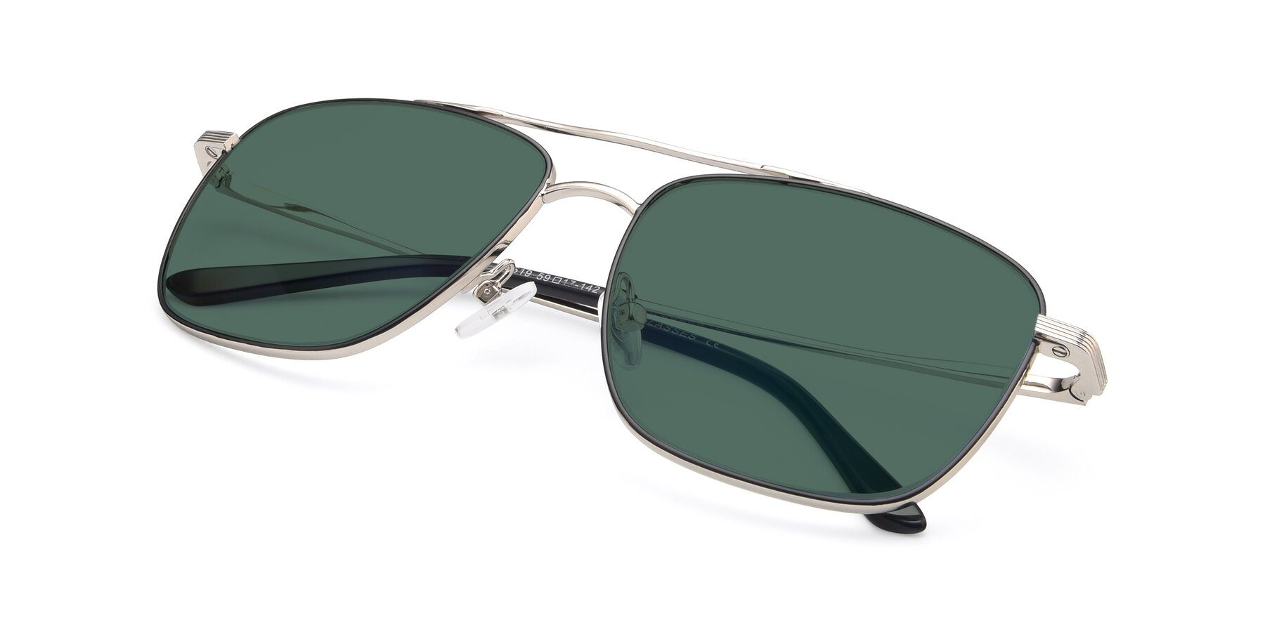 View of 9519 in Black-Silver with Green Polarized Lenses