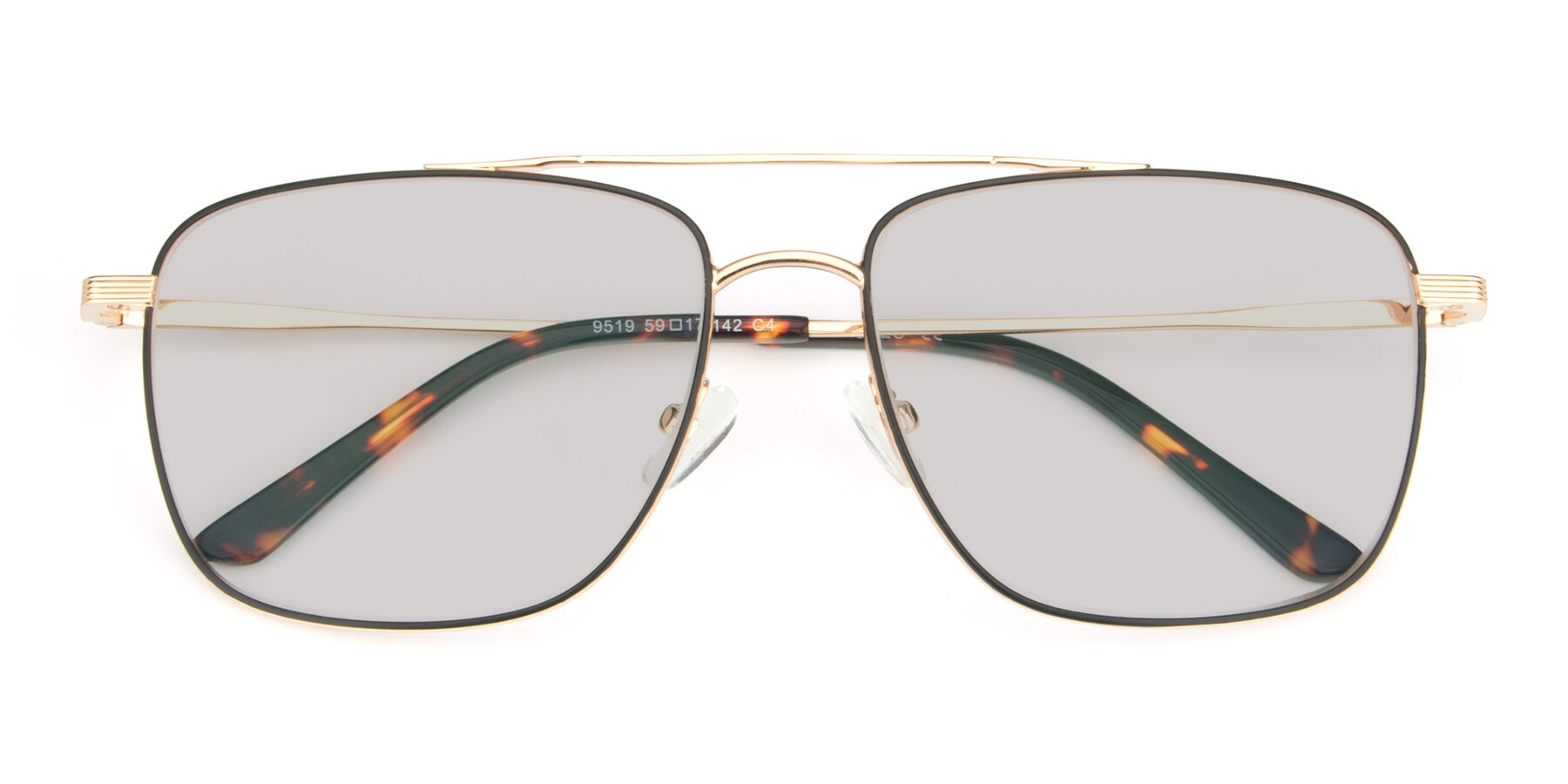 Folded Front of 9519 in Black-Gold with Light Gray Tinted Lenses