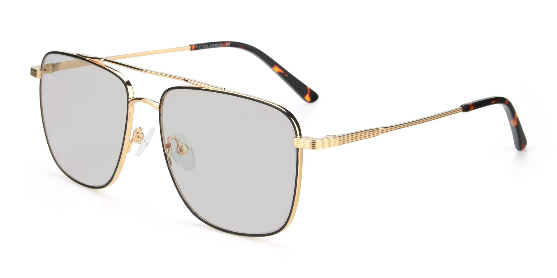 Angle of 9519 in Black-Gold with Light Gray Tinted Lenses