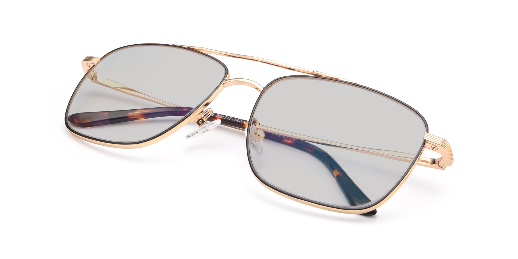 View of 9519 in Black-Gold with Light Gray Tinted Lenses