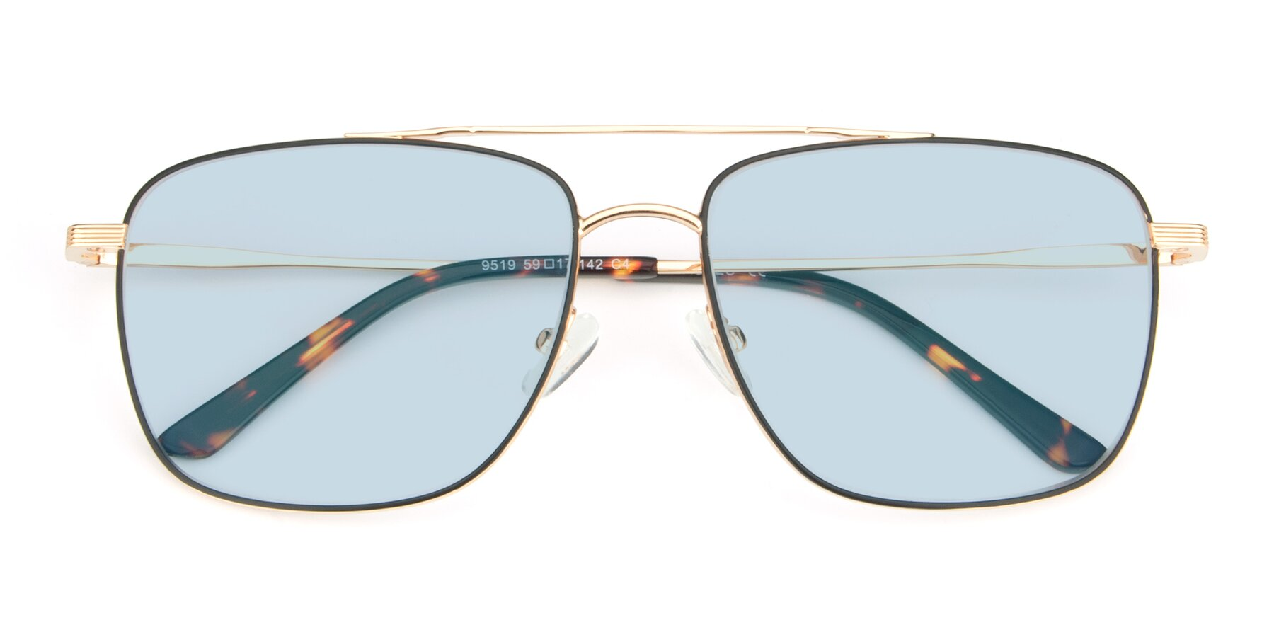 Folded Front of 9519 in Black-Gold with Light Blue Tinted Lenses
