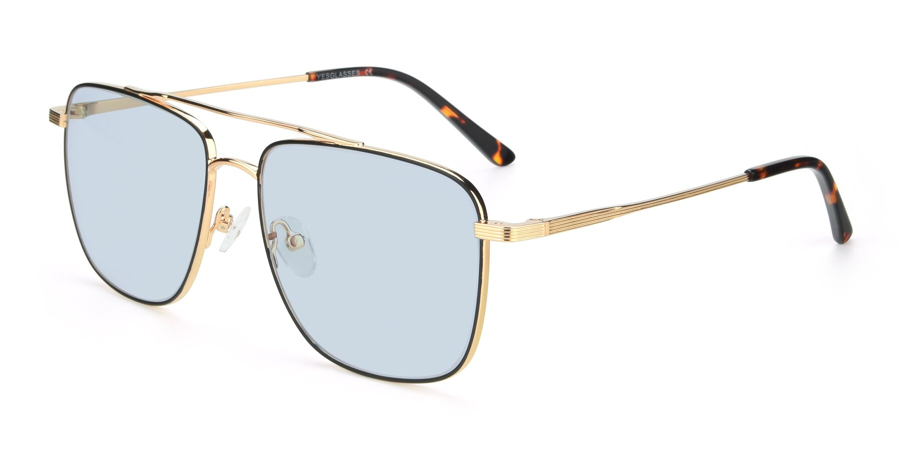 Angle of 9519 in Black-Gold with Light Blue Tinted Lenses