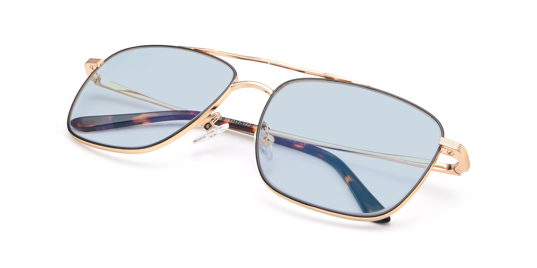 View of 9519 in Black-Gold with Light Blue Tinted Lenses