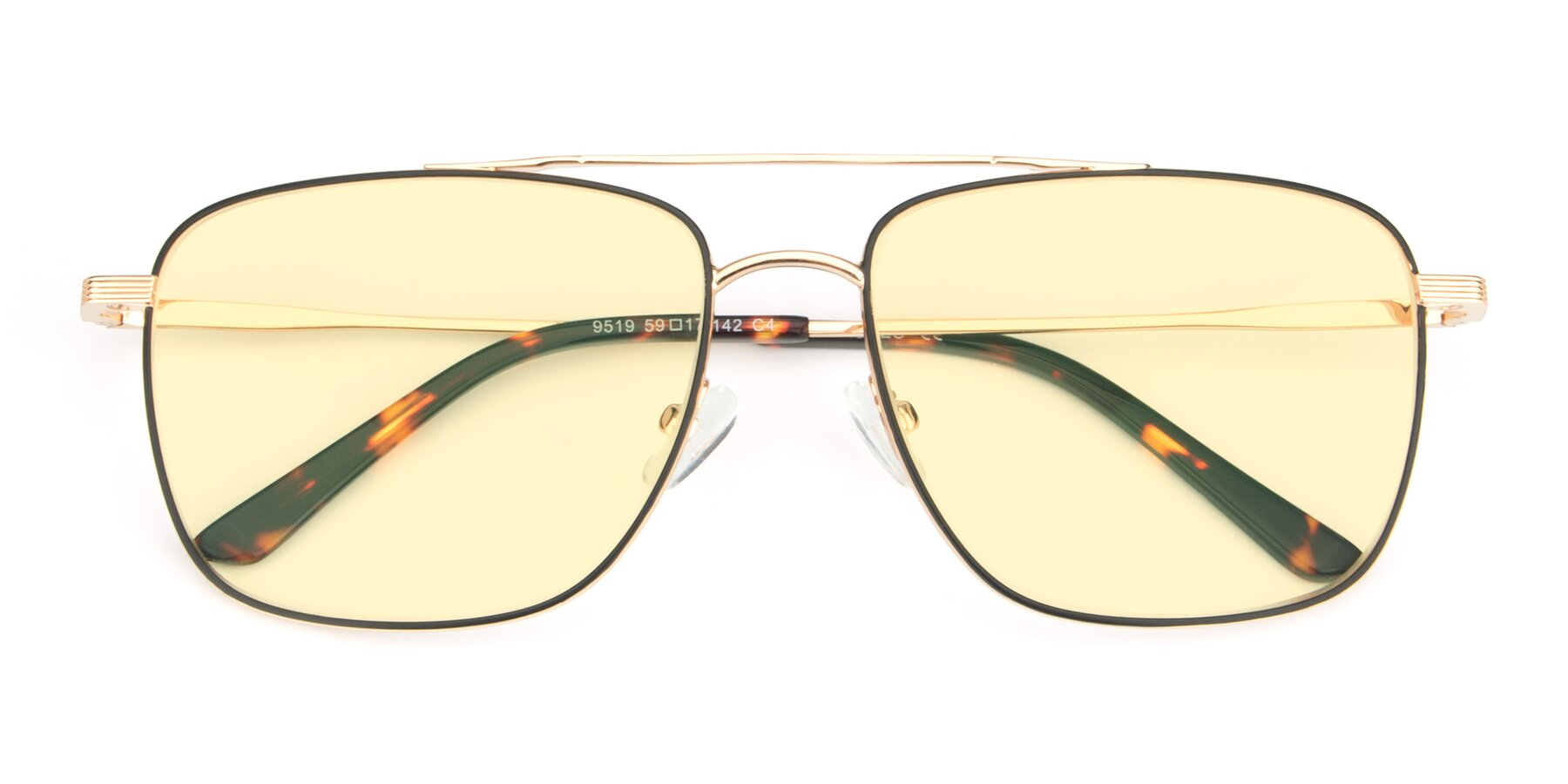 Folded Front of 9519 in Black-Gold with Light Yellow Tinted Lenses