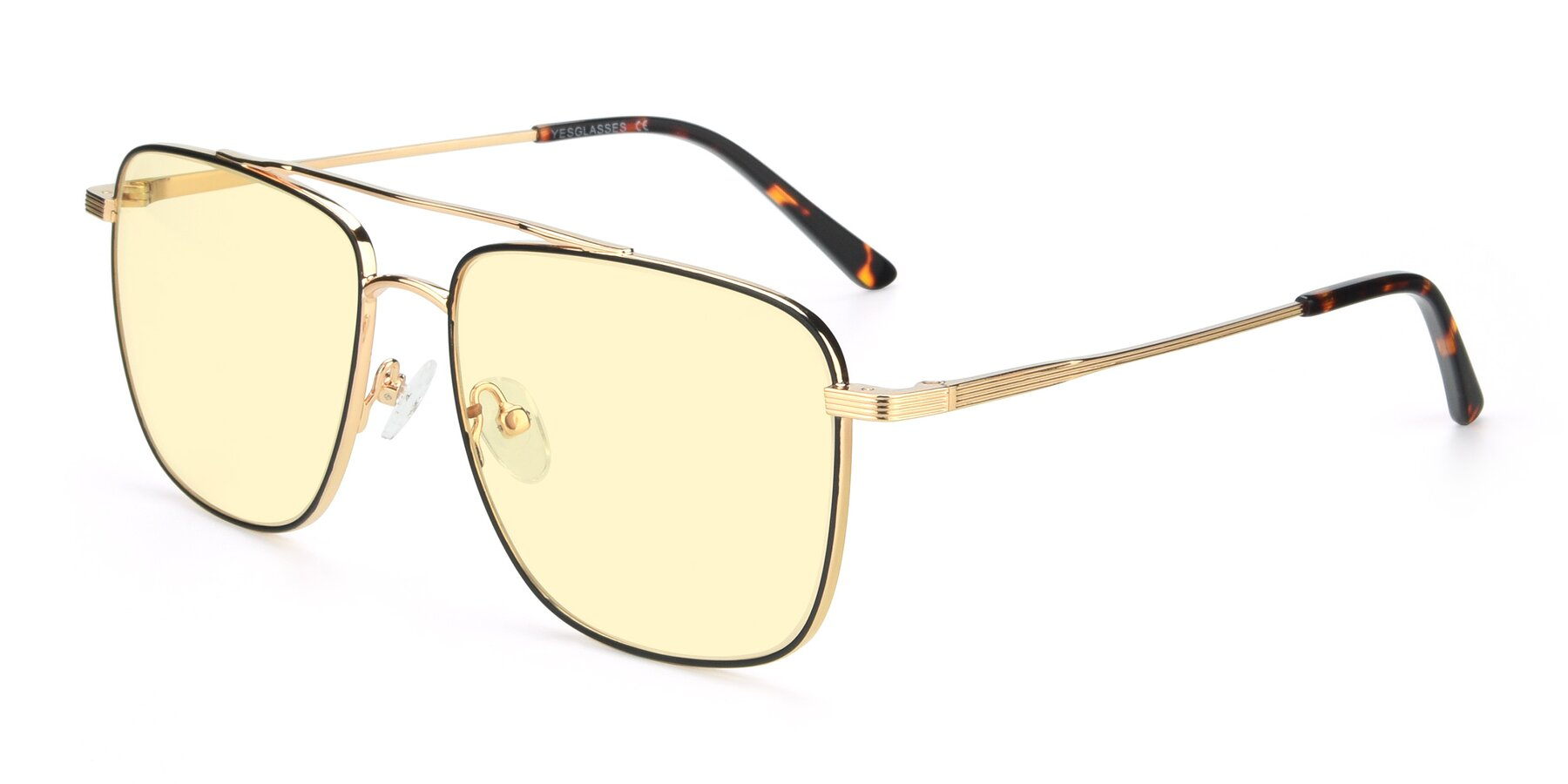 Angle of 9519 in Black-Gold with Light Yellow Tinted Lenses