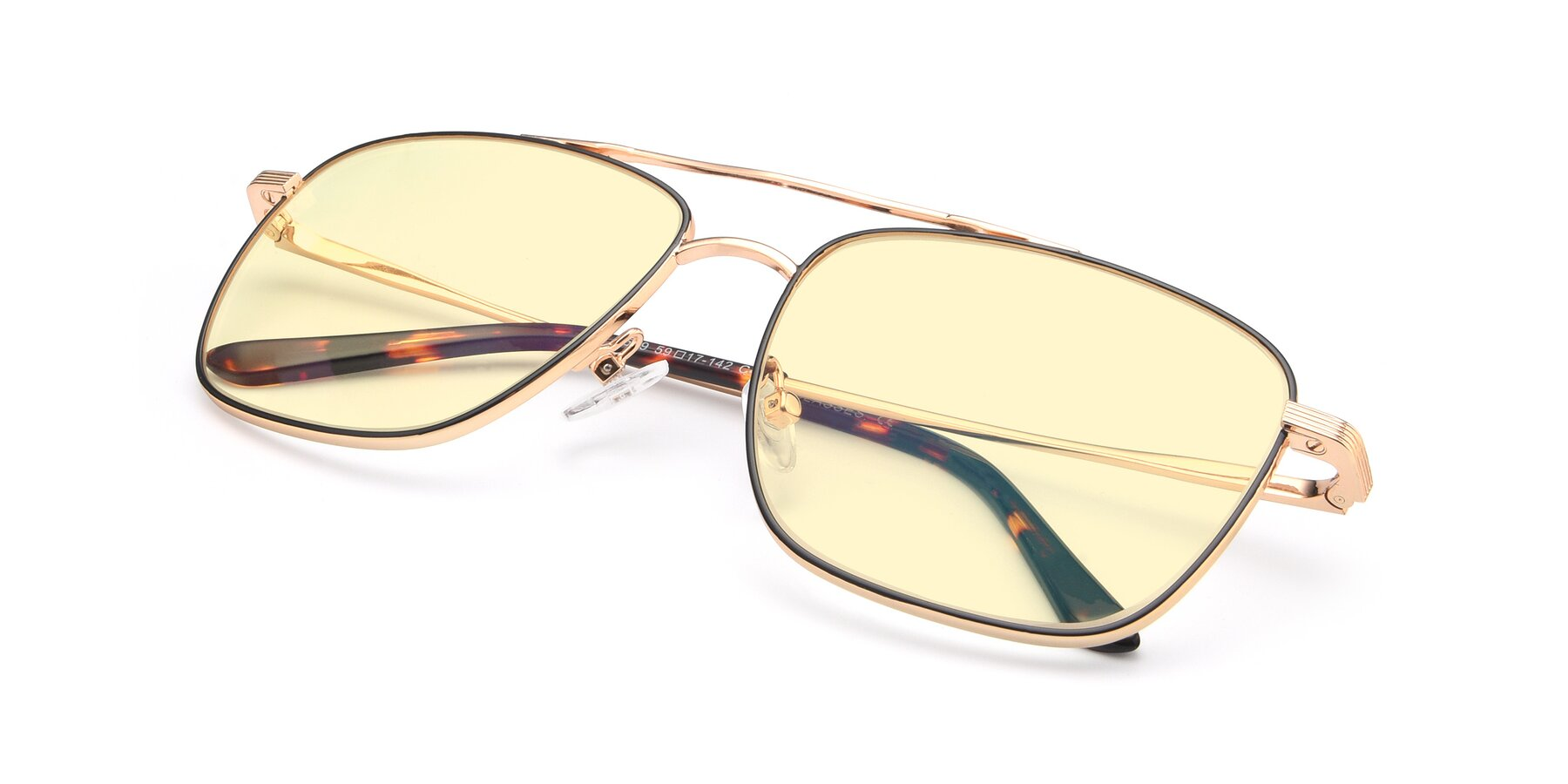 View of 9519 in Black-Gold with Light Yellow Tinted Lenses