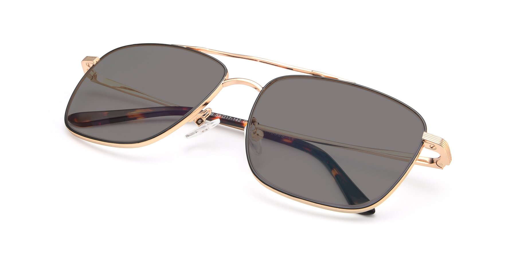 View of 9519 in Black-Gold with Medium Gray Tinted Lenses