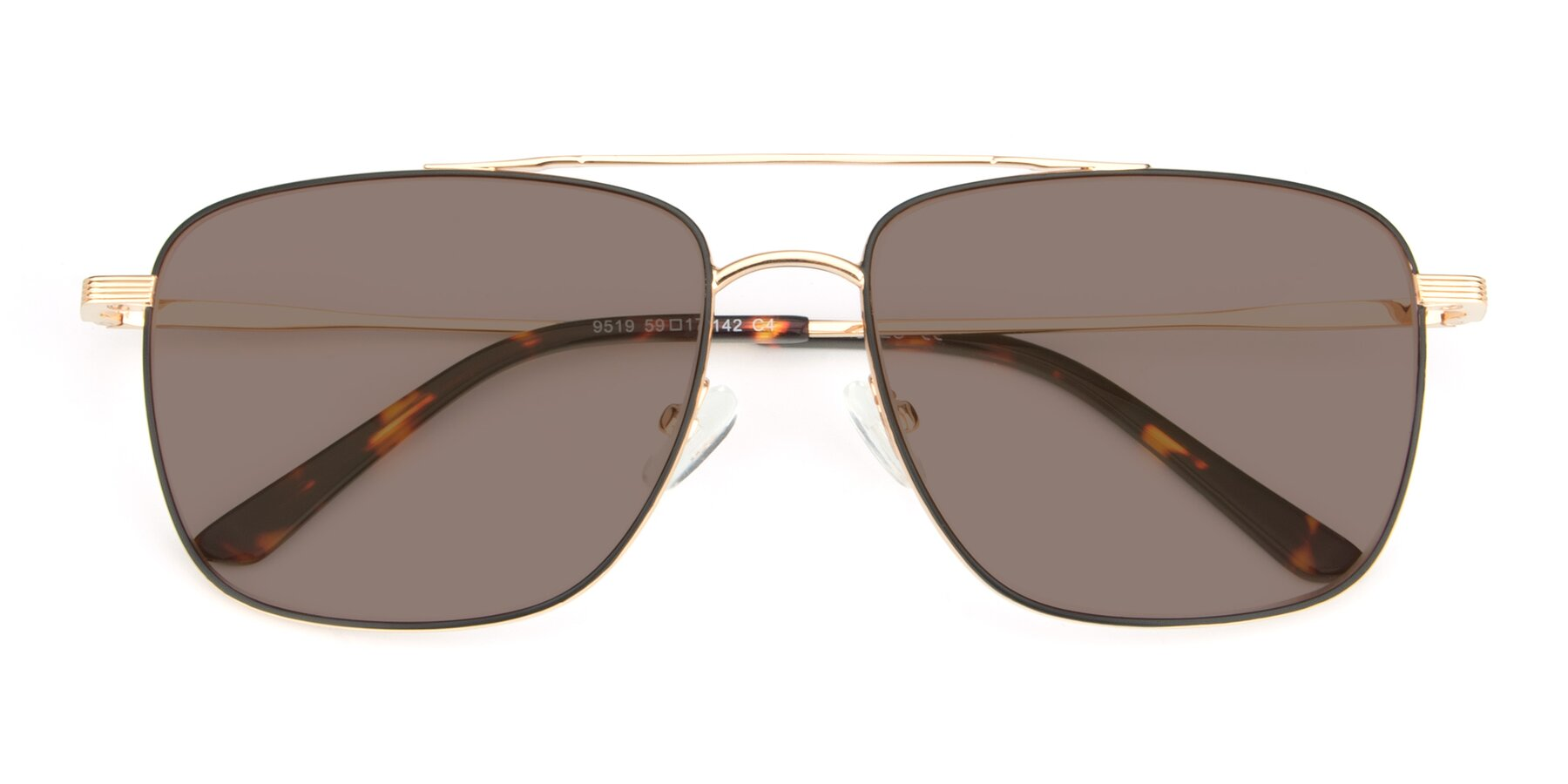 Folded Front of 9519 in Black-Gold with Medium Brown Tinted Lenses
