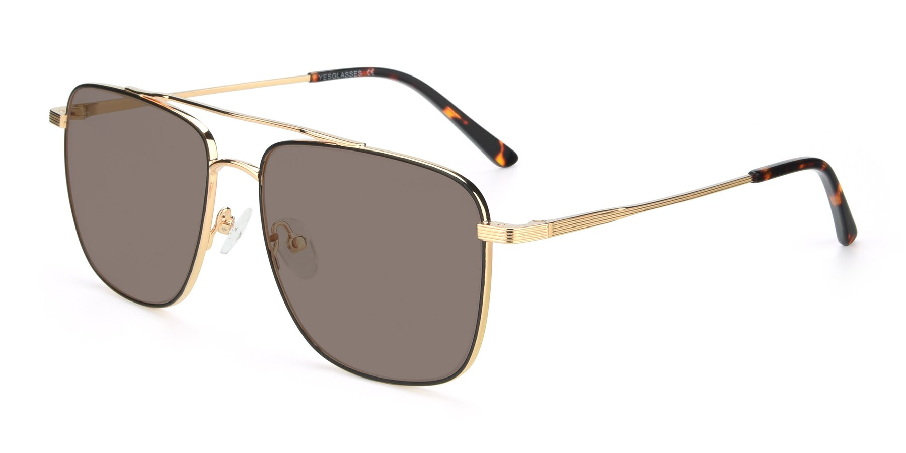 Angle of 9519 in Black-Gold with Medium Brown Tinted Lenses