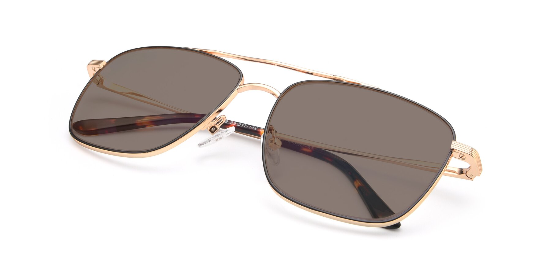 View of 9519 in Black-Gold with Medium Brown Tinted Lenses