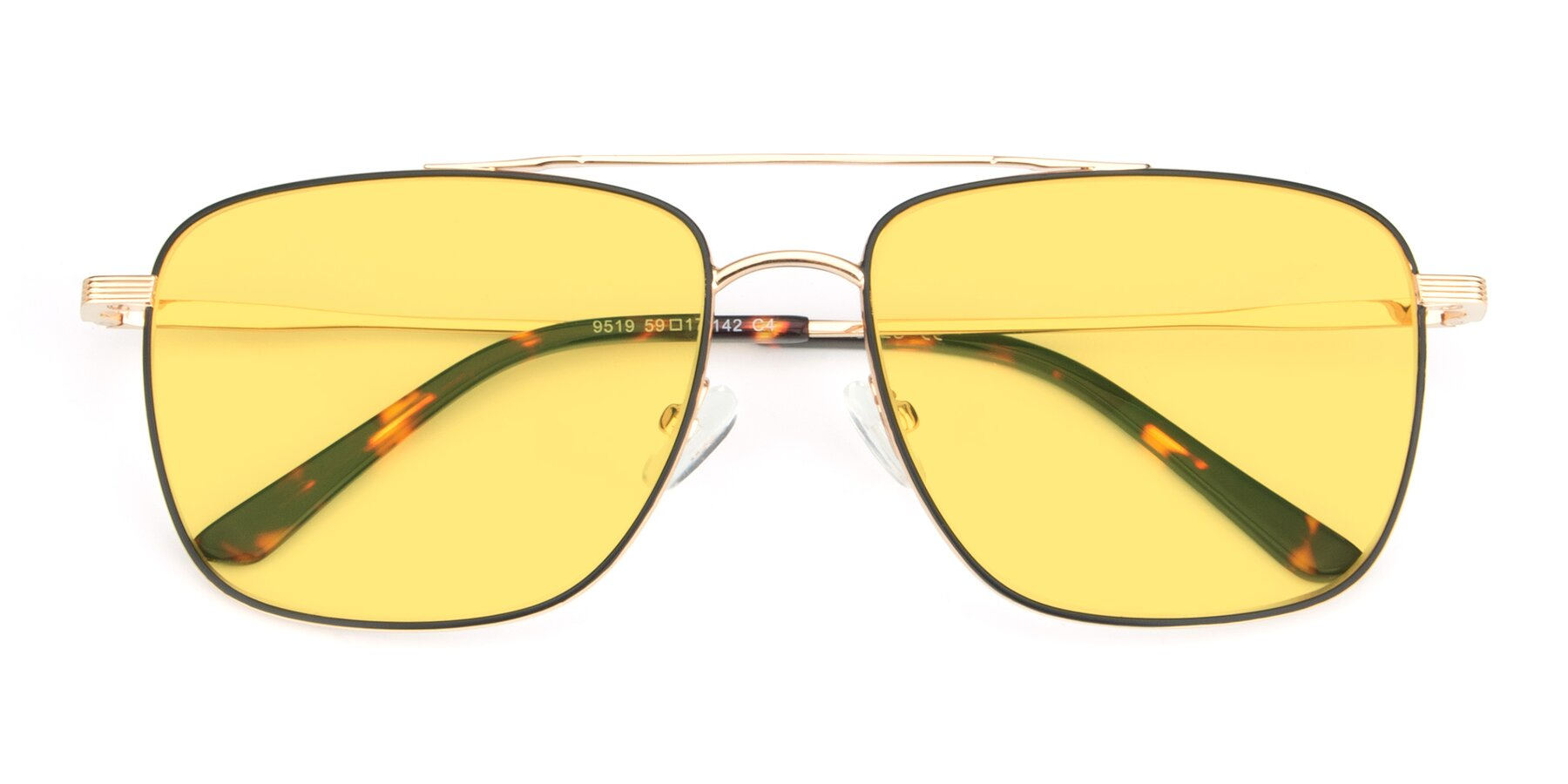Folded Front of 9519 in Black-Gold with Medium Yellow Tinted Lenses