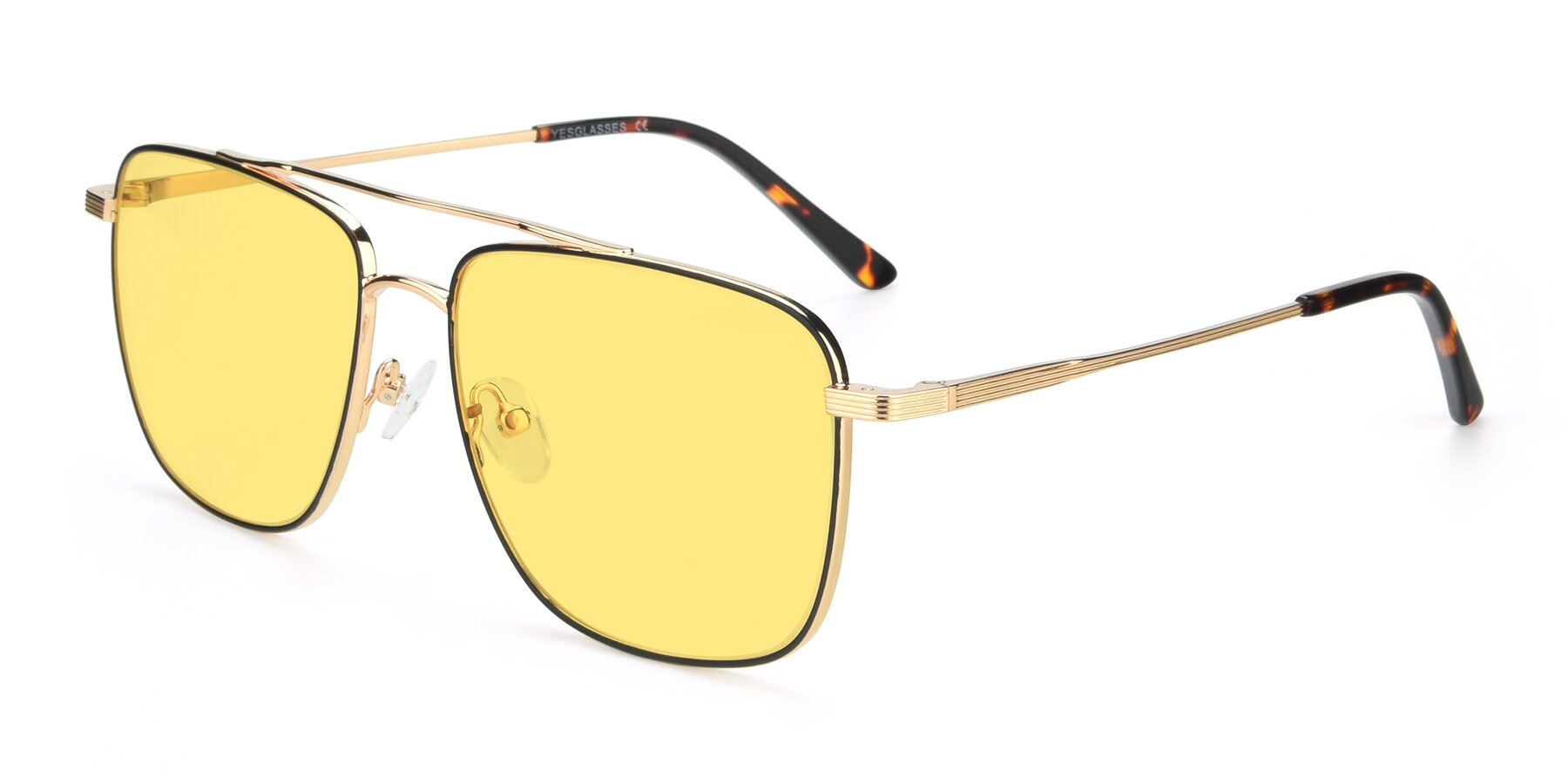 Angle of 9519 in Black-Gold with Medium Yellow Tinted Lenses