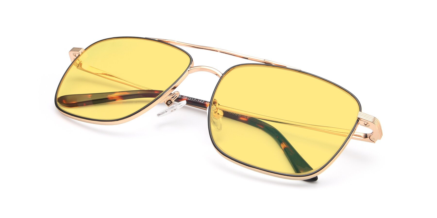 View of 9519 in Black-Gold with Medium Yellow Tinted Lenses