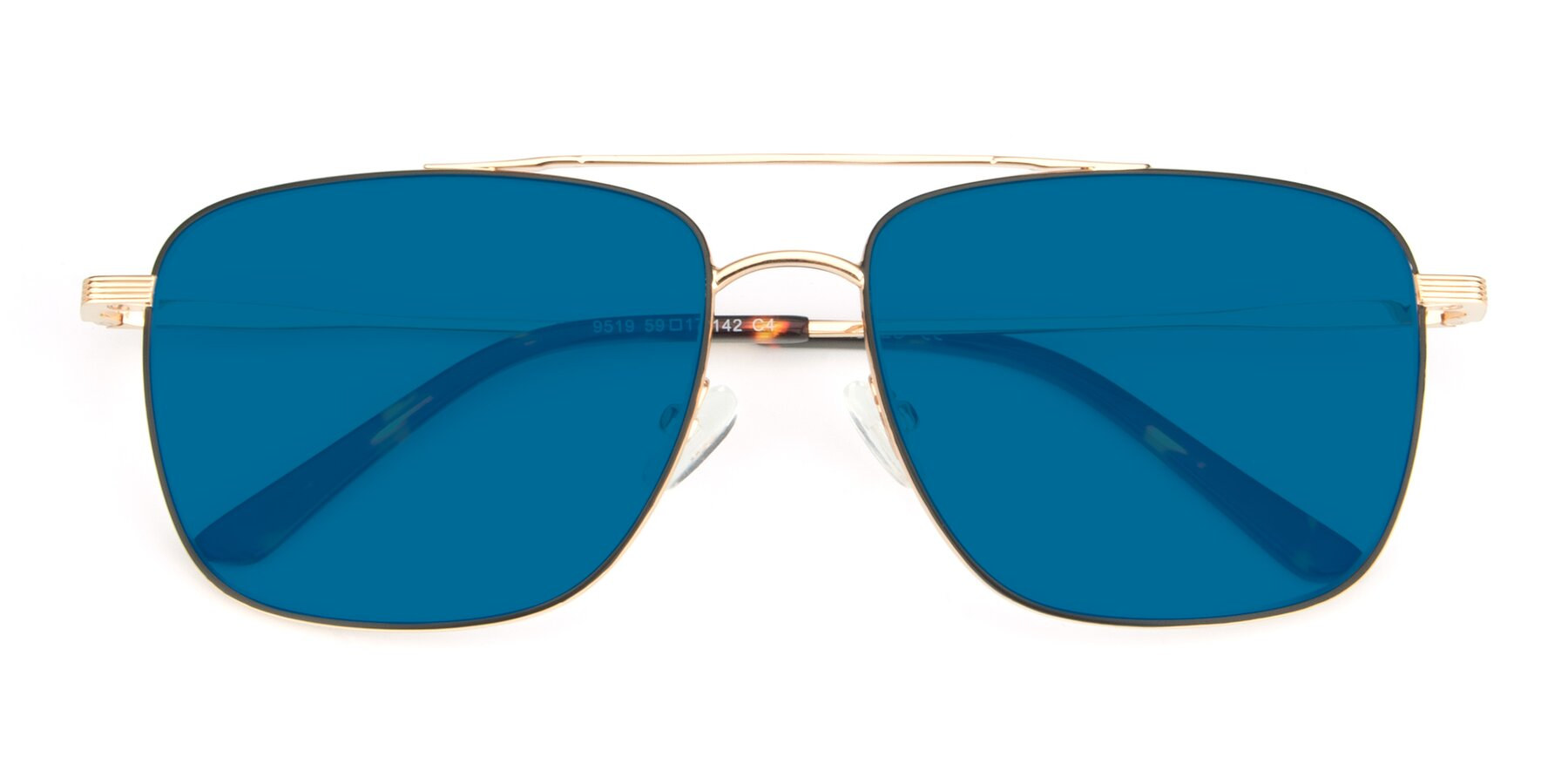 Folded Front of 9519 in Black-Gold with Blue Tinted Lenses