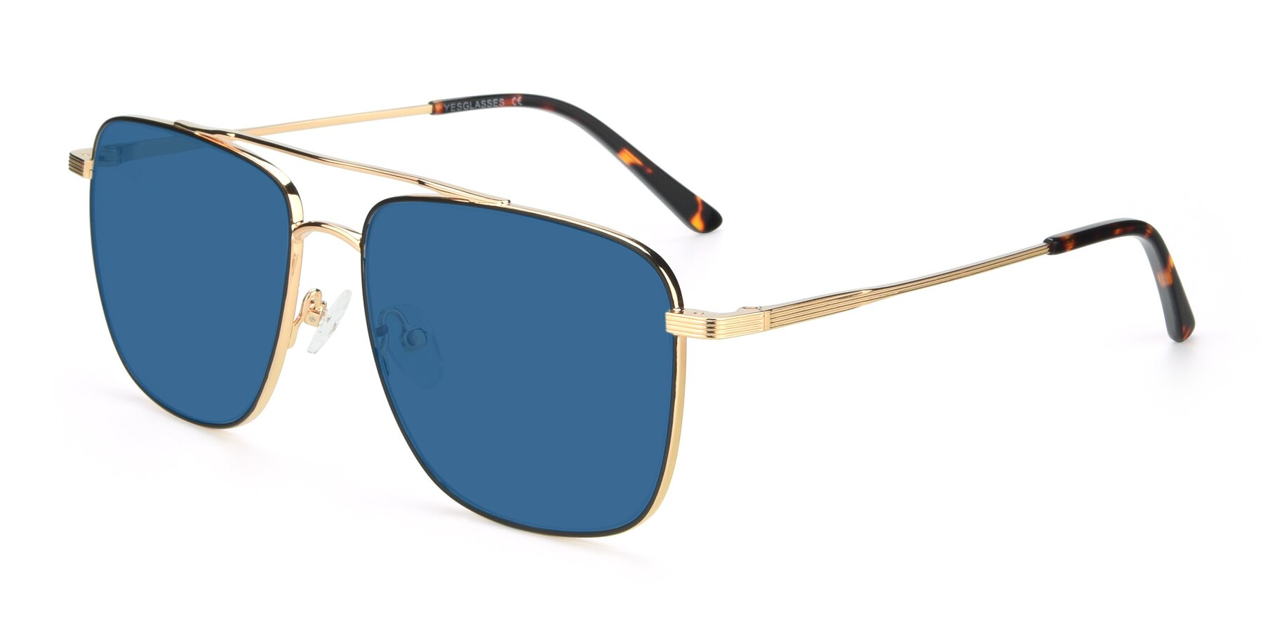 Angle of 9519 in Black-Gold with Blue Tinted Lenses