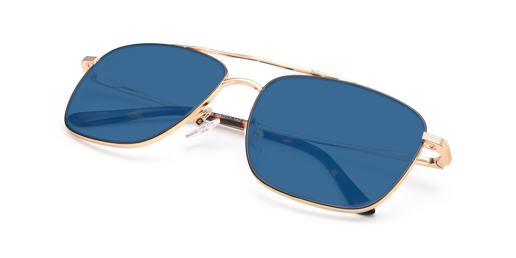 View of 9519 in Black-Gold with Blue Tinted Lenses