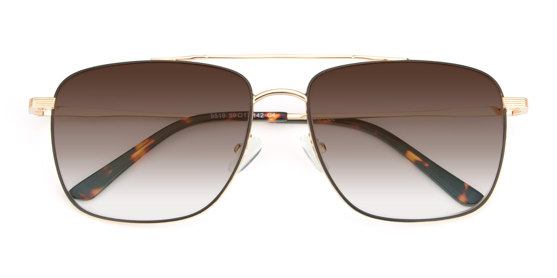 Folded Front of 9519 in Black-Gold with Brown Gradient Lenses