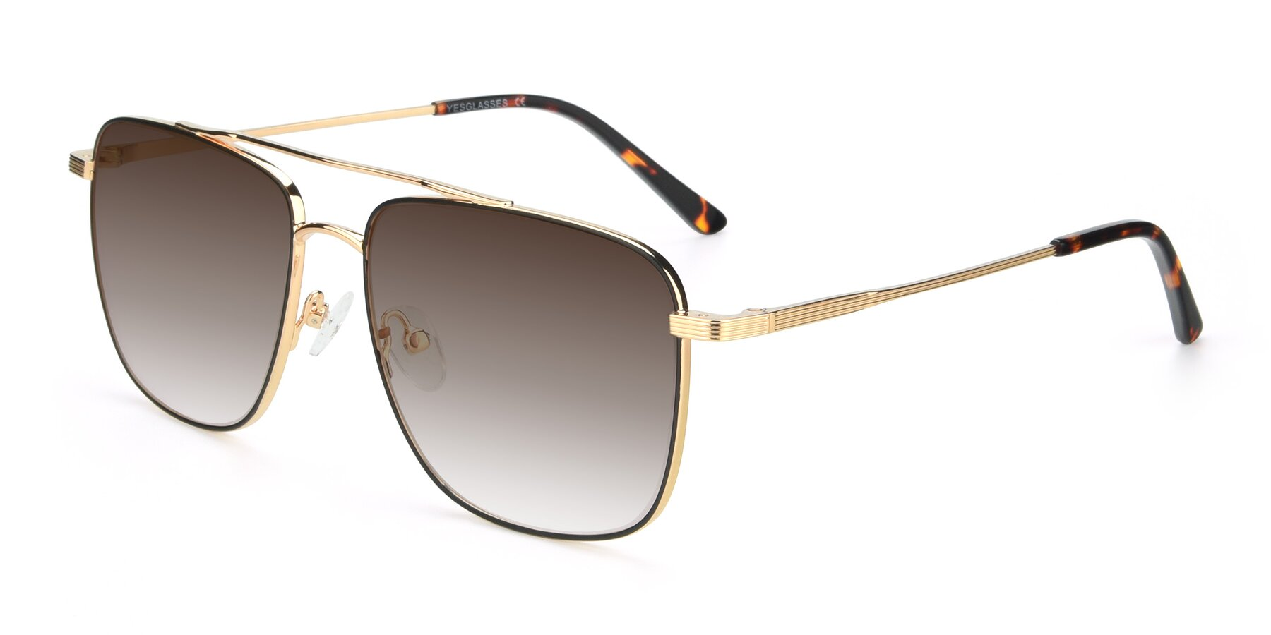 Angle of 9519 in Black-Gold with Brown Gradient Lenses