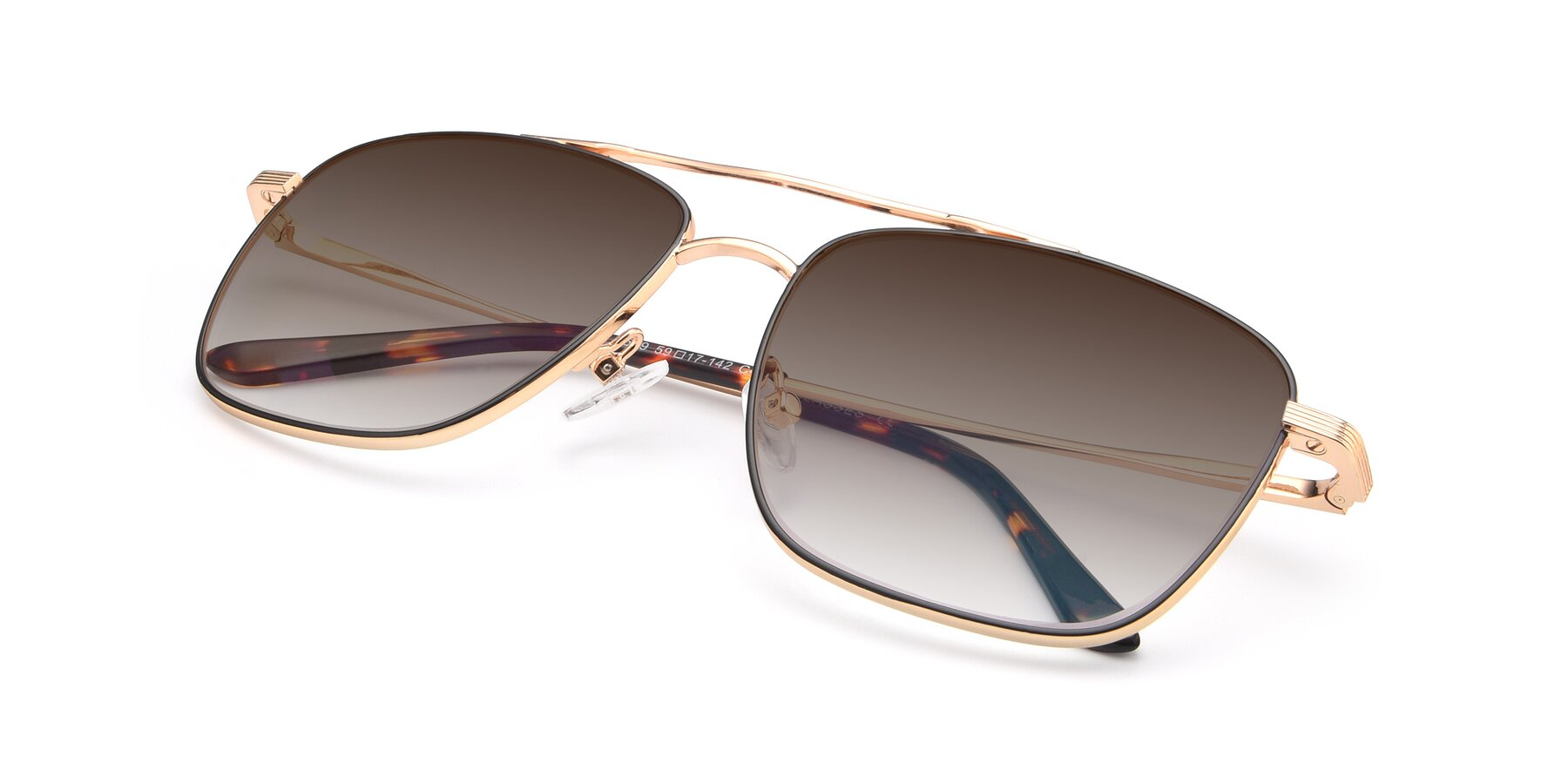 View of 9519 in Black-Gold with Brown Gradient Lenses