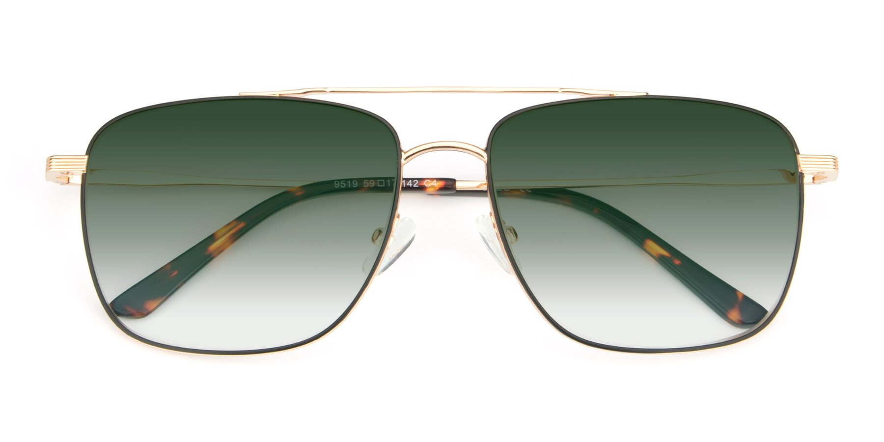 Folded Front of 9519 in Black-Gold with Green Gradient Lenses