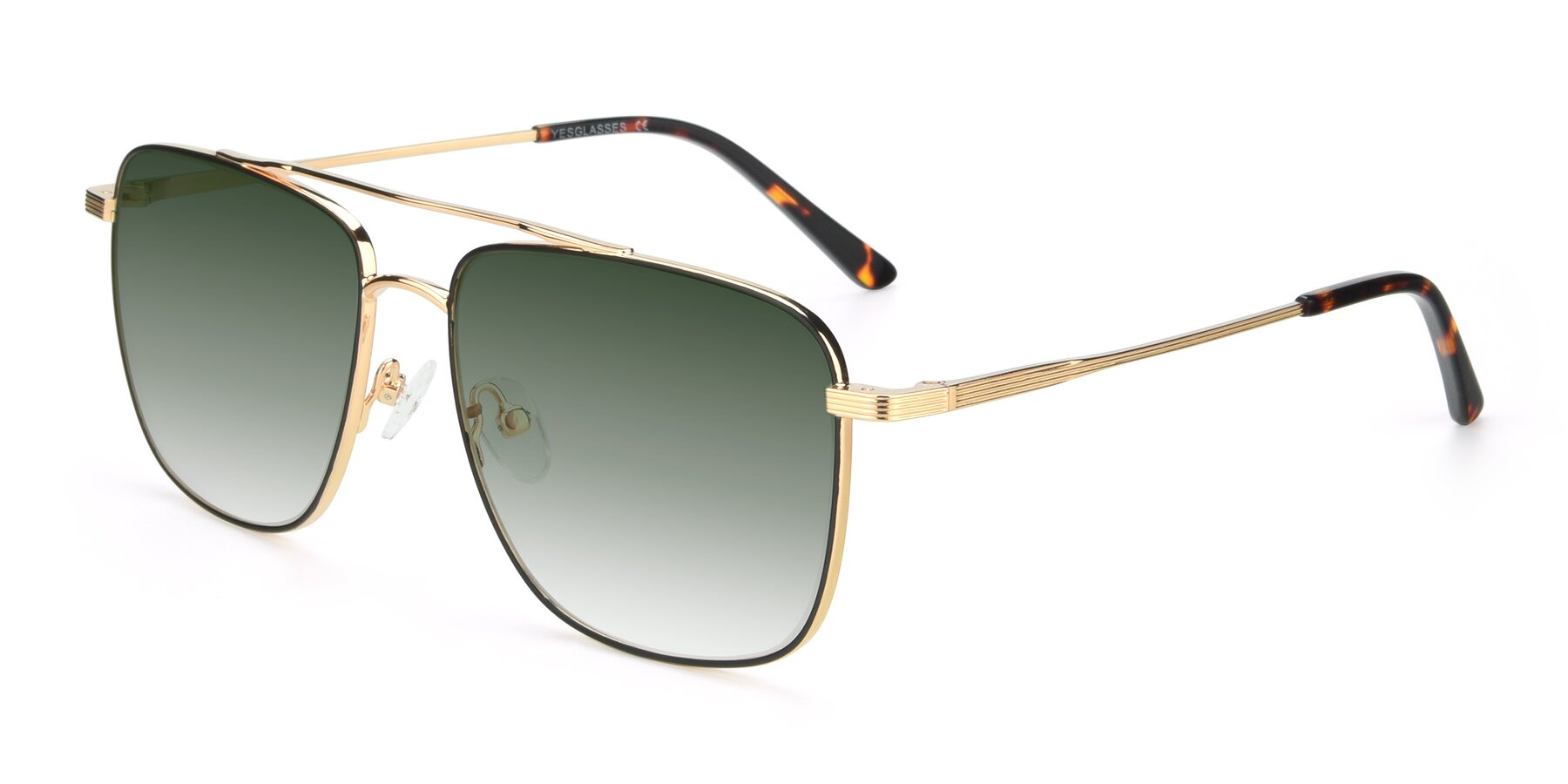 Angle of 9519 in Black-Gold with Green Gradient Lenses