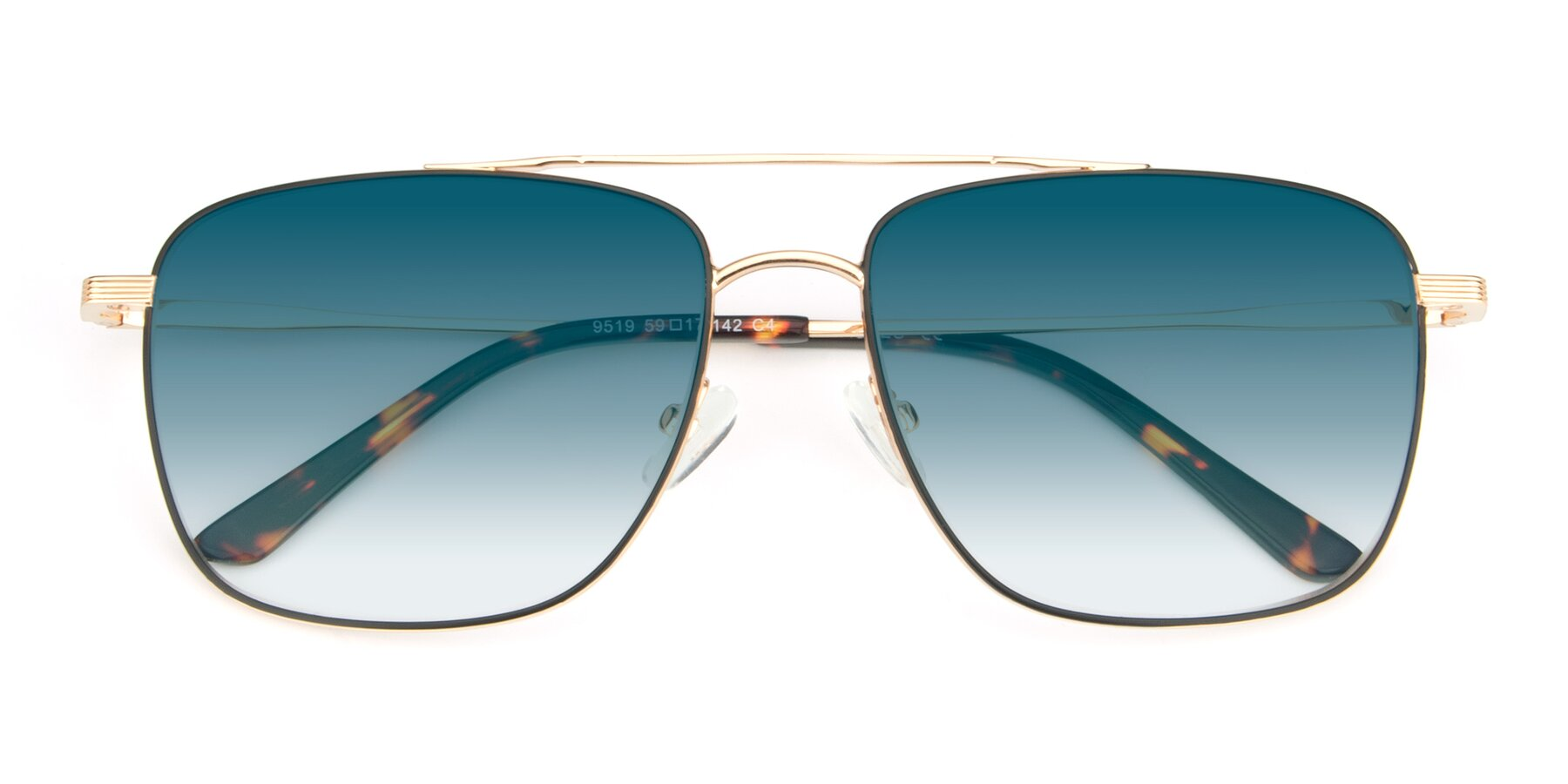 Folded Front of 9519 in Black-Gold with Blue Gradient Lenses