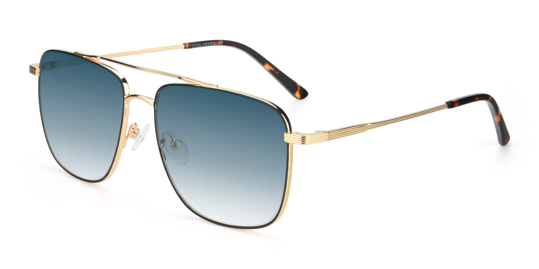 Angle of 9519 in Black-Gold with Blue Gradient Lenses