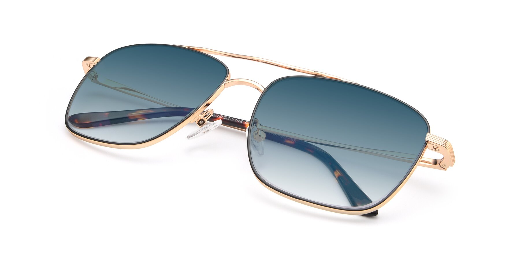 View of 9519 in Black-Gold with Blue Gradient Lenses