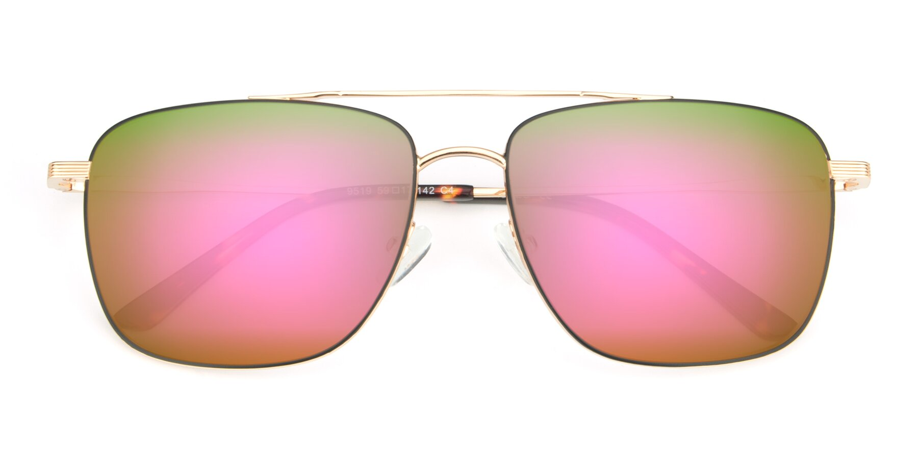 Folded Front of 9519 in Black-Gold with Pink Mirrored Lenses