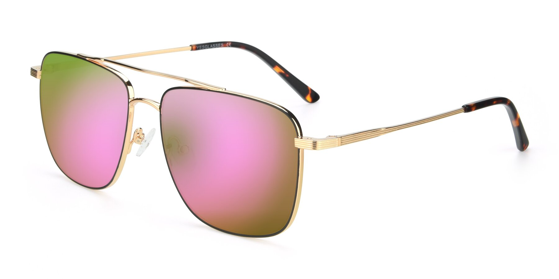 Angle of 9519 in Black-Gold with Pink Mirrored Lenses