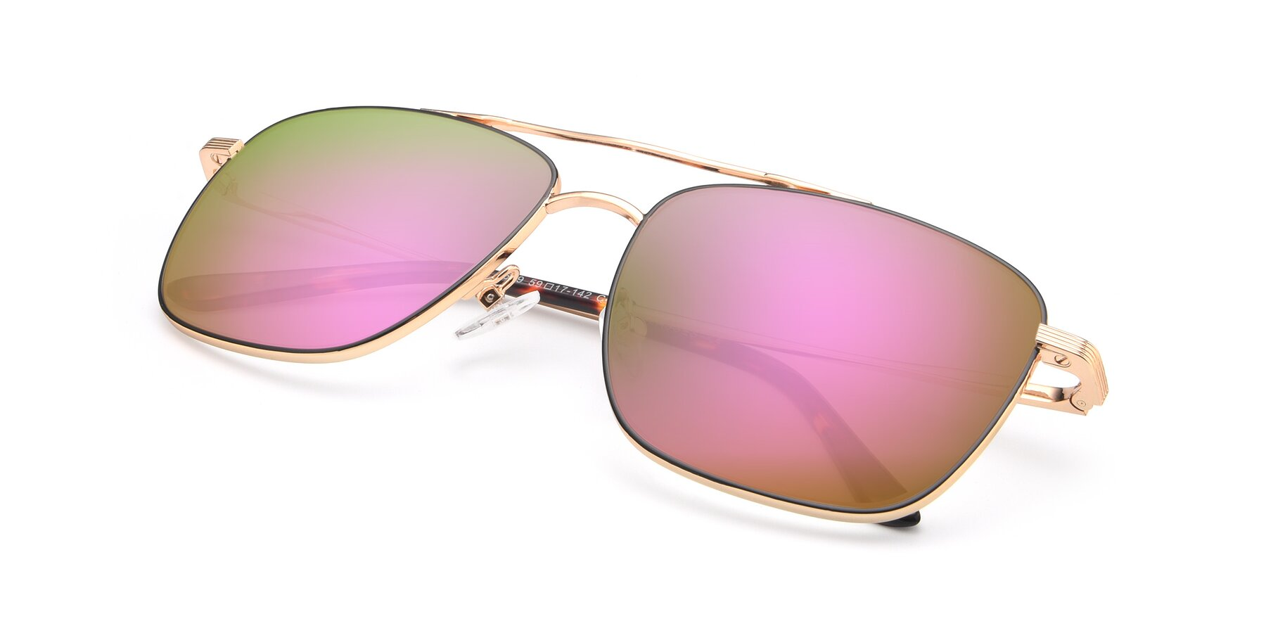 View of 9519 in Black-Gold with Pink Mirrored Lenses