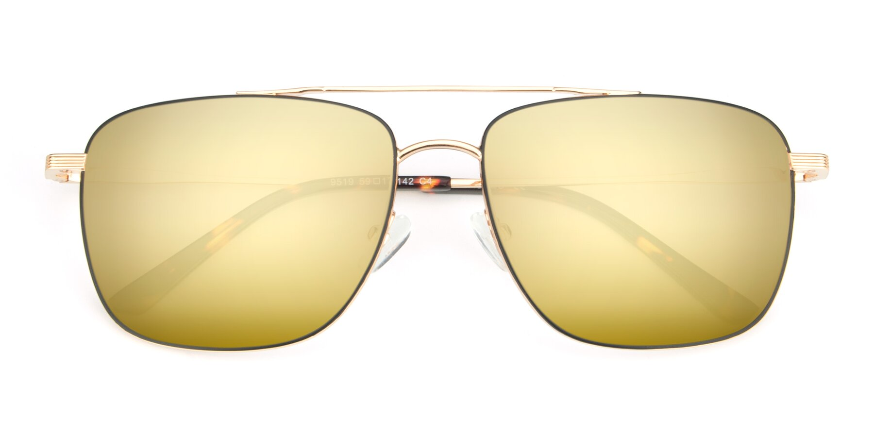 Folded Front of 9519 in Black-Gold with Gold Mirrored Lenses