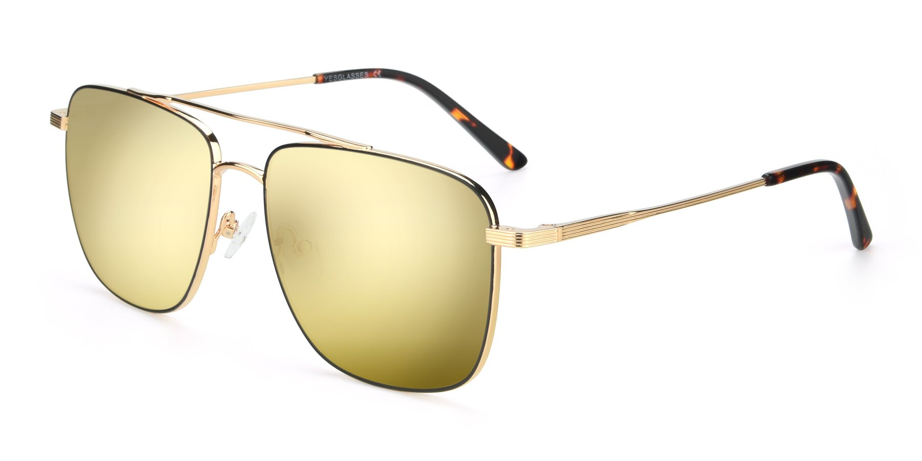 Angle of 9519 in Black-Gold with Gold Mirrored Lenses