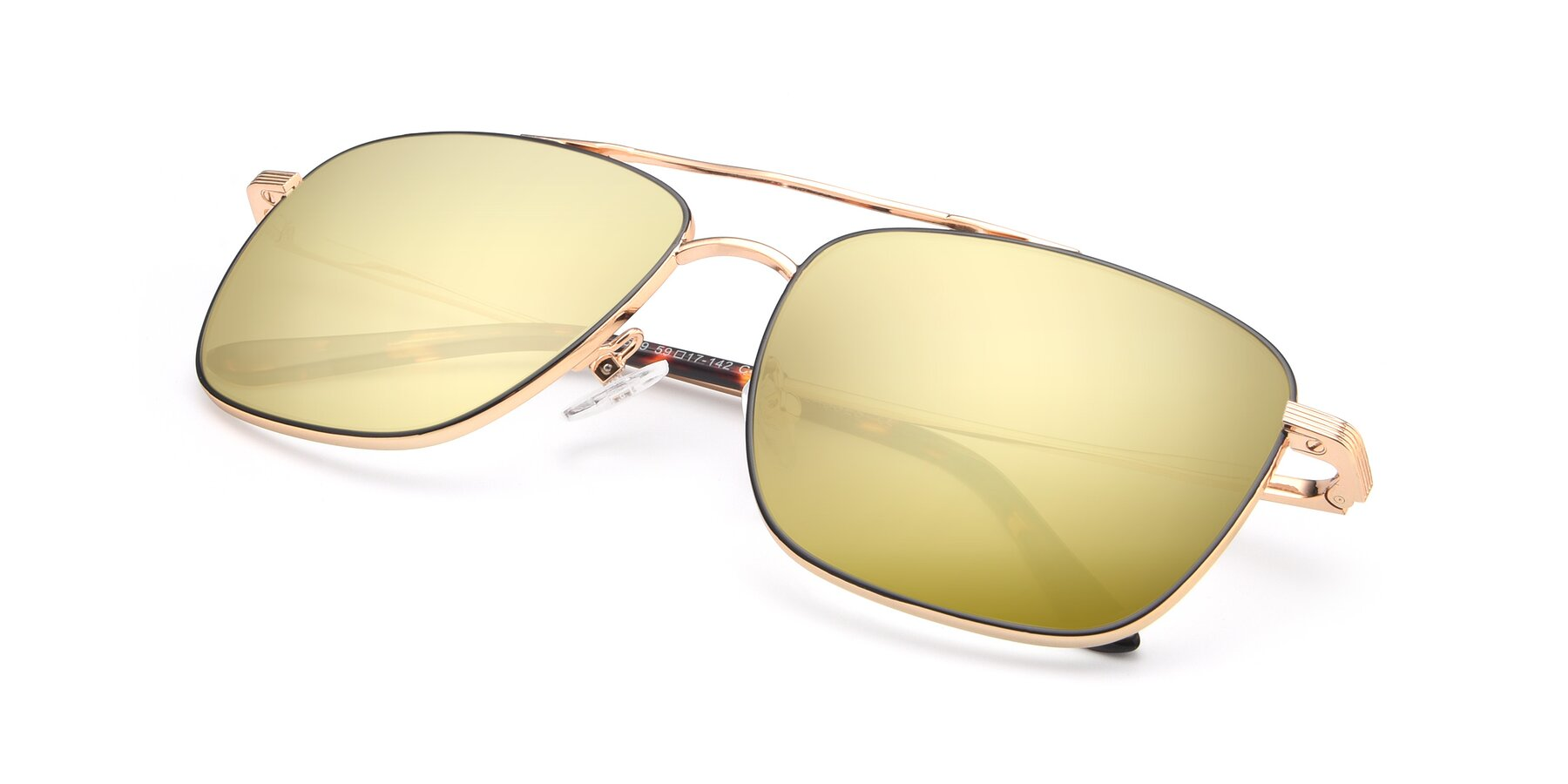 View of 9519 in Black-Gold with Gold Mirrored Lenses