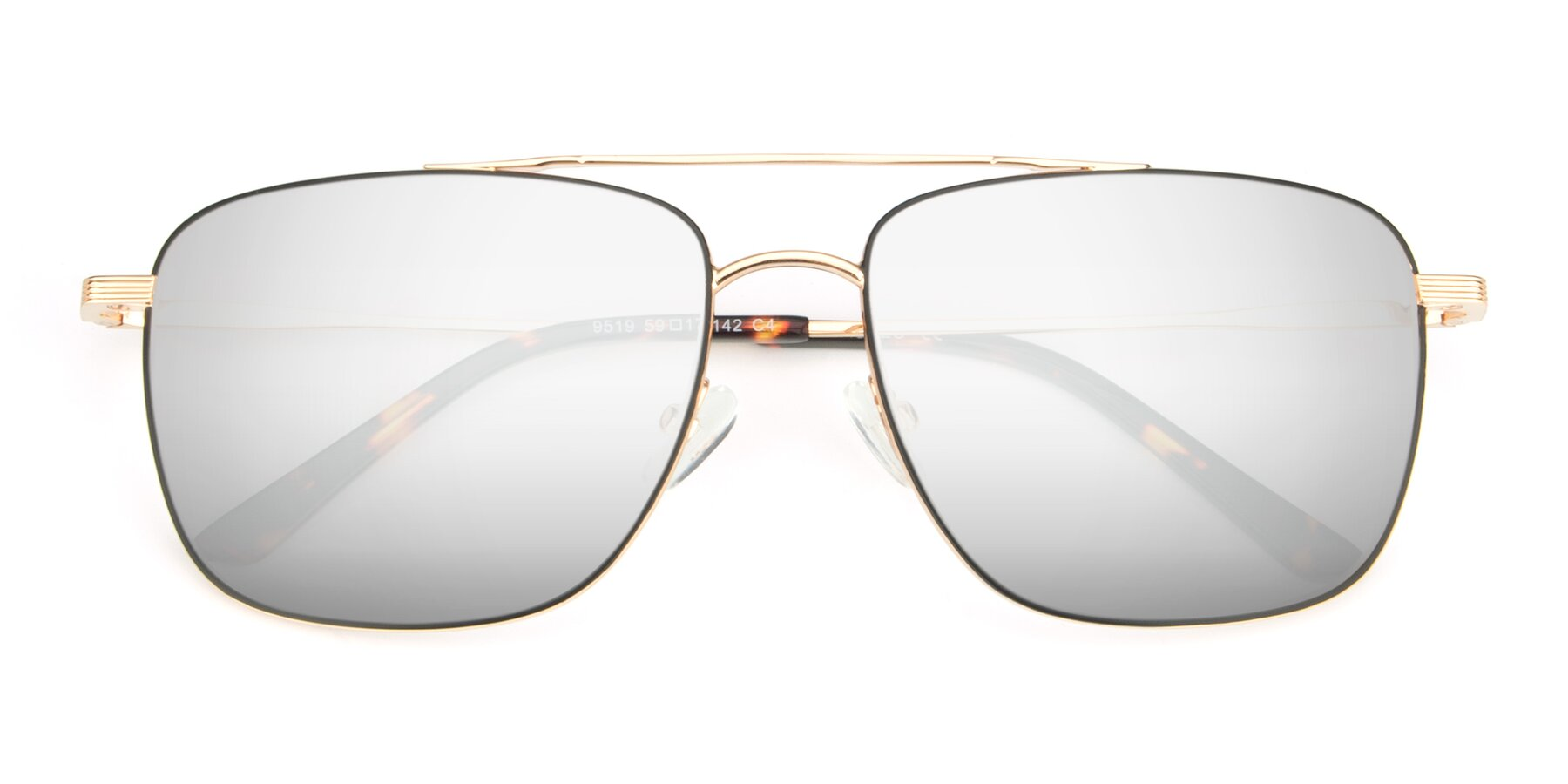 Folded Front of 9519 in Black-Gold with Silver Mirrored Lenses