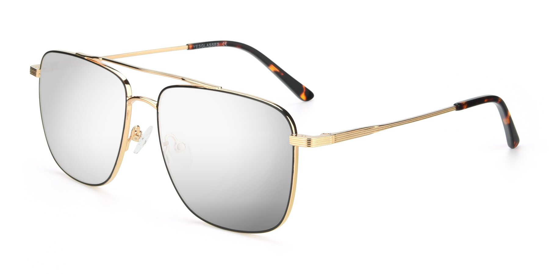 Angle of 9519 in Black-Gold with Silver Mirrored Lenses