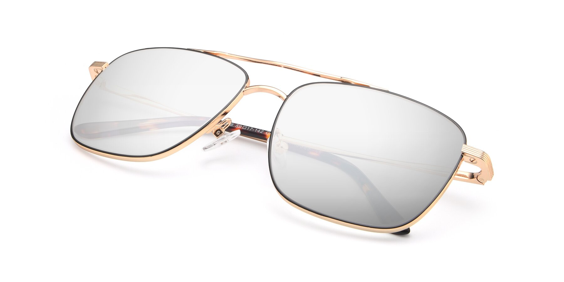 View of 9519 in Black-Gold with Silver Mirrored Lenses