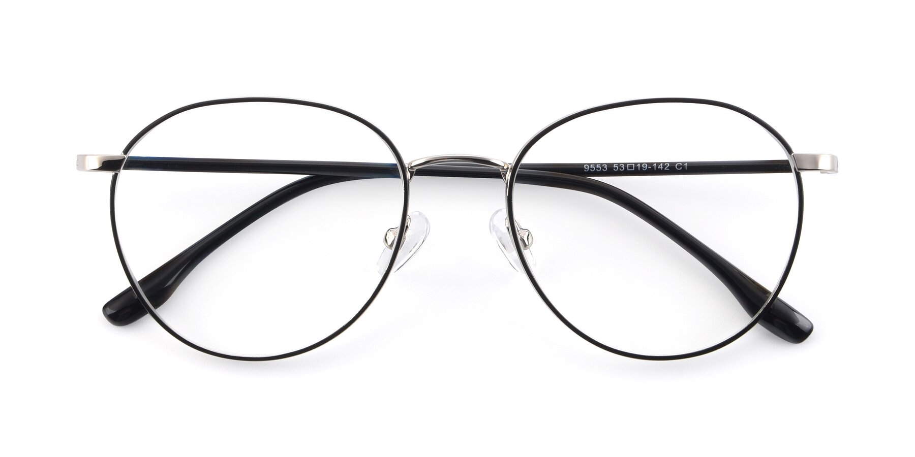 Folded Front of 9553 in Black-Silver with Clear Blue Light Blocking Lenses