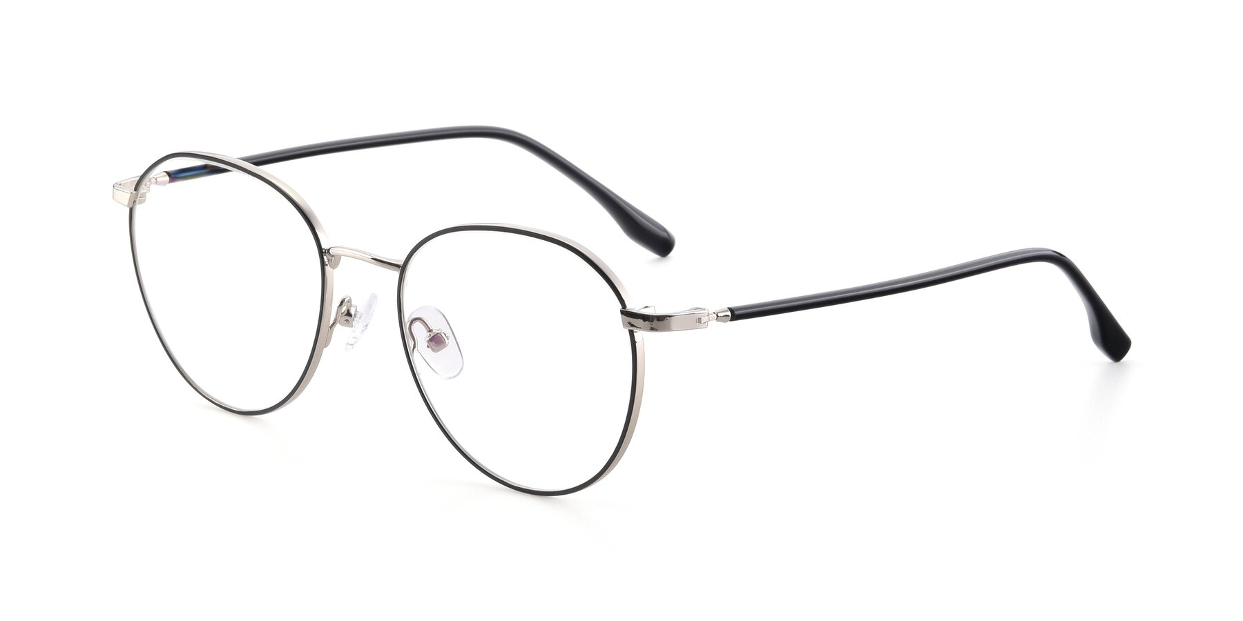 Angle of 9553 in Black-Silver with Clear Blue Light Blocking Lenses