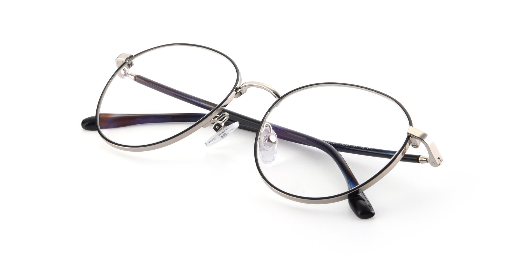 View of 9553 in Black-Silver with Clear Blue Light Blocking Lenses