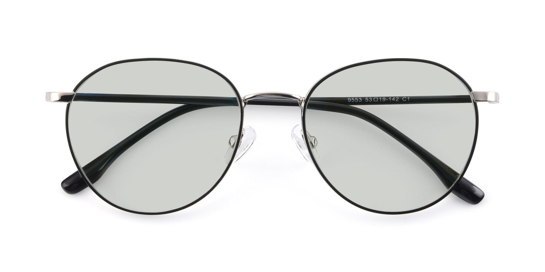 Folded Front of 9553 in Black-Silver with Light Green Tinted Lenses