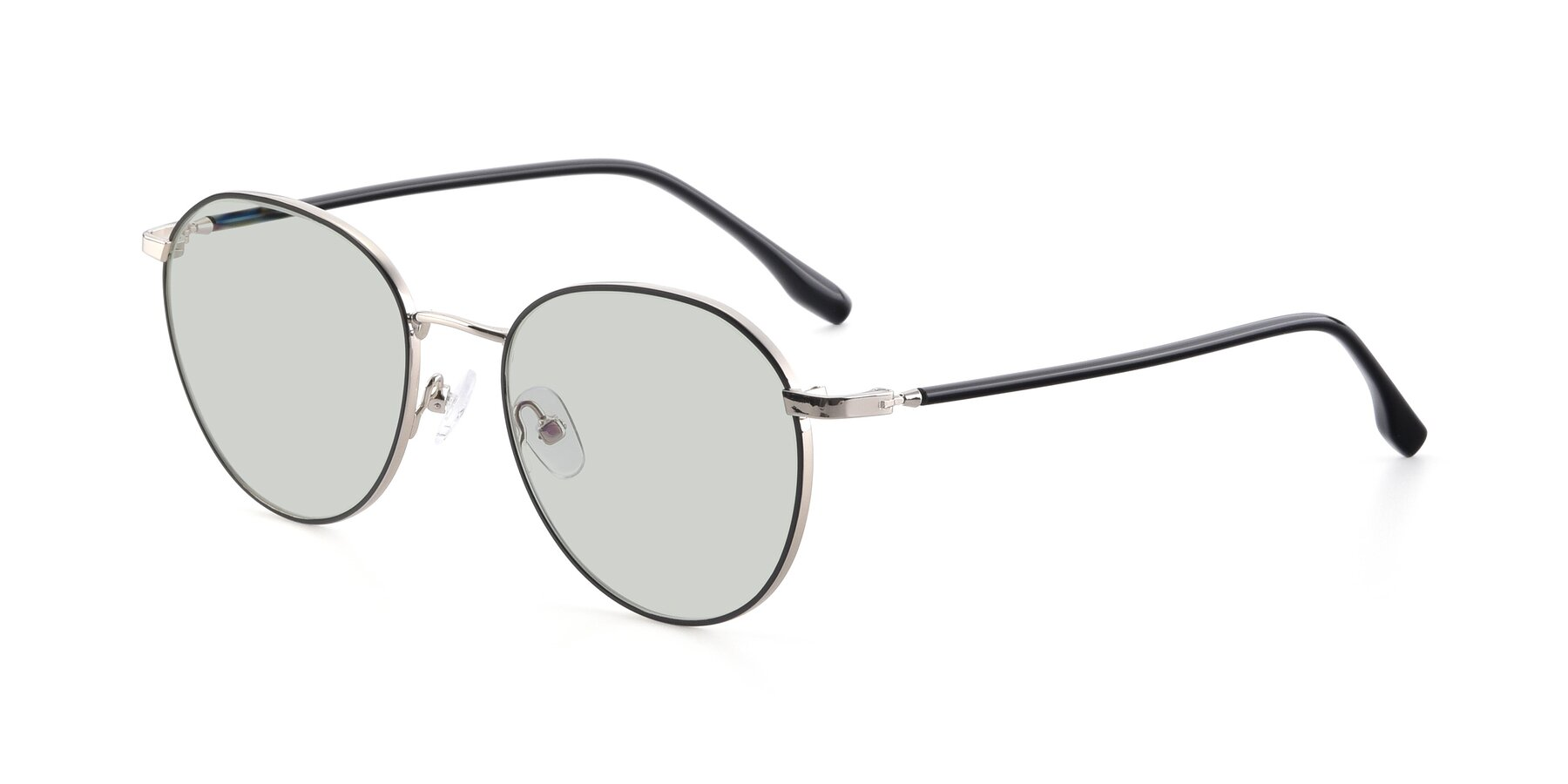 Angle of 9553 in Black-Silver with Light Green Tinted Lenses