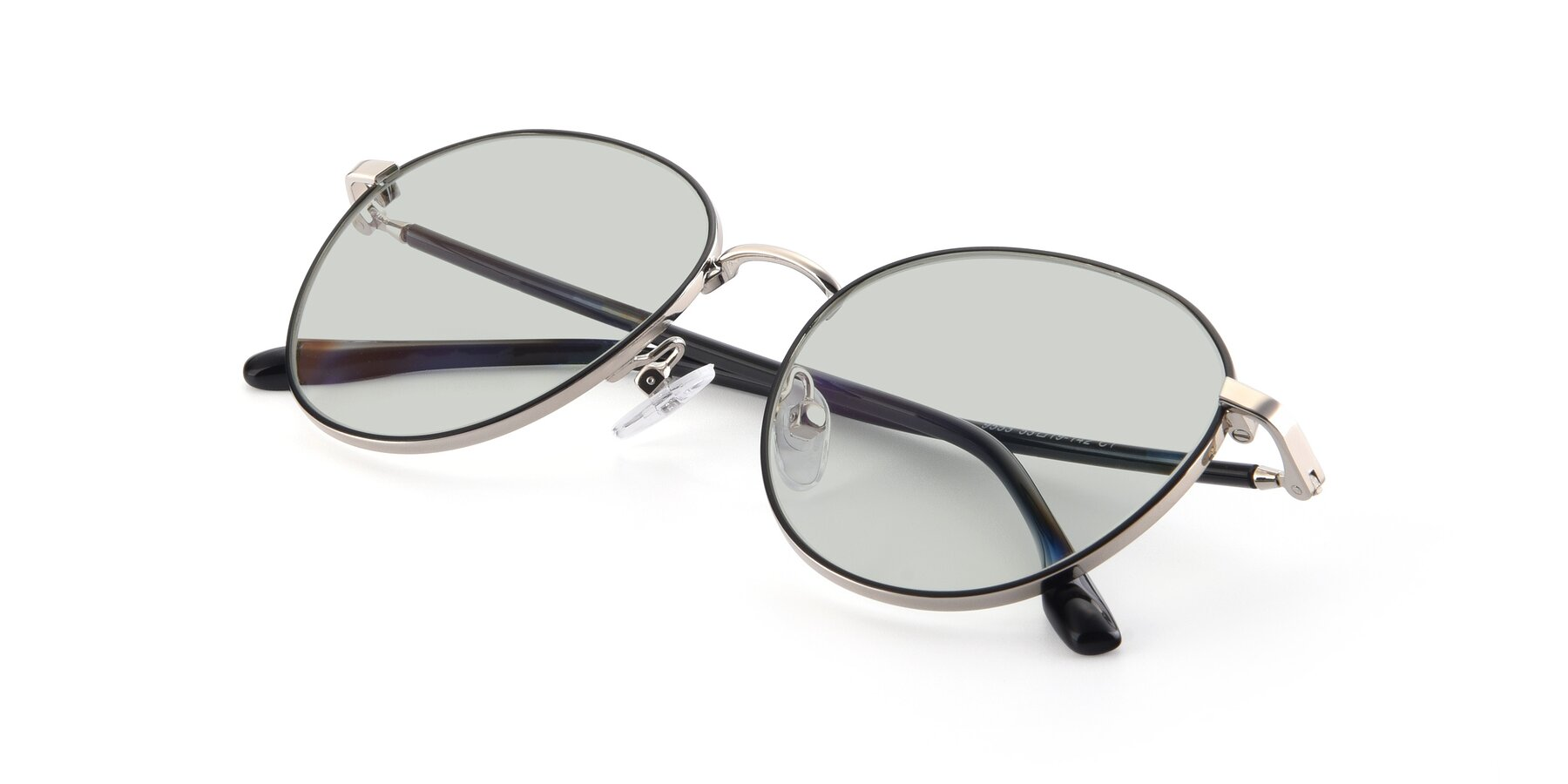 View of 9553 in Black-Silver with Light Green Tinted Lenses