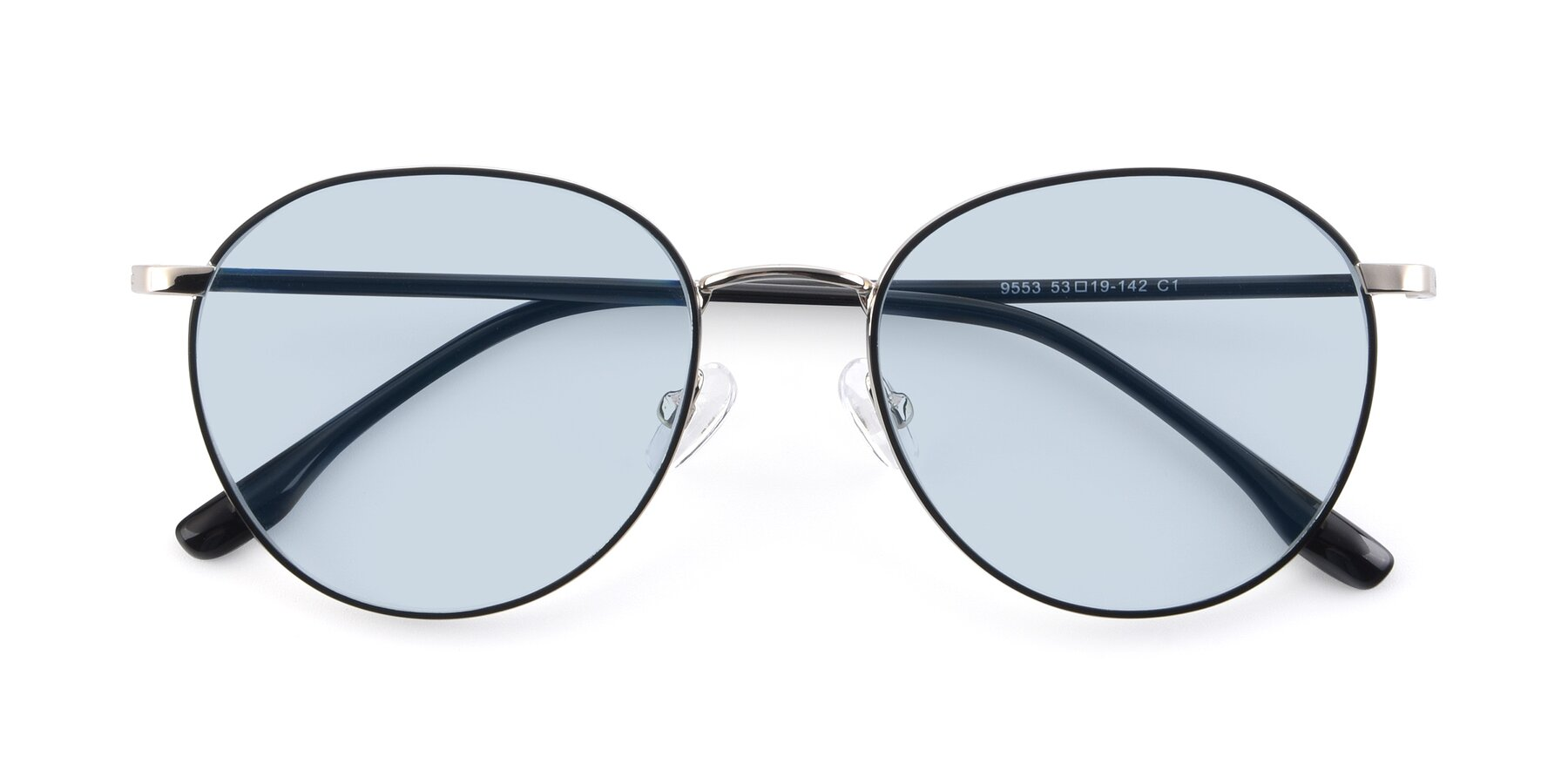 Folded Front of 9553 in Black-Silver with Light Blue Tinted Lenses